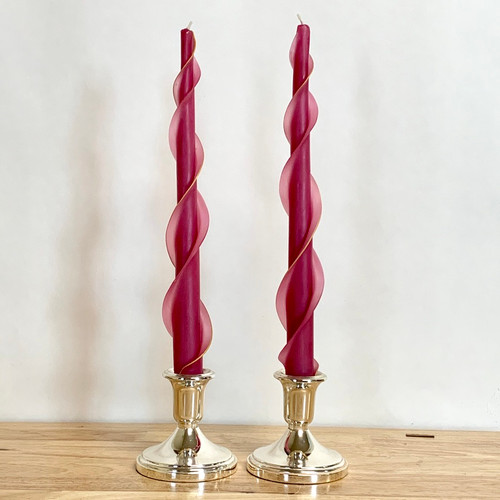 """100% Beeswax Double Flare Rose and Gold Trim Taper Candle 10"""""""