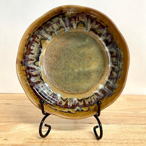 "Handmade Pottery Brie Baker in Misty River Glaze 7"""