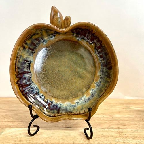 """Handmade Stoneware Apple Crisp Baker 8"""" in Misty River"""