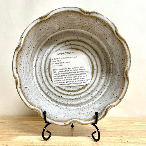 """Pie Plate/Baking Dish in White Speckle 10.25"""" Wide"""