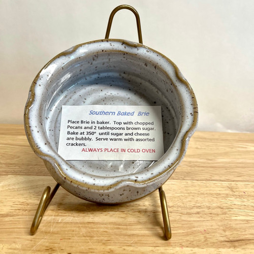 Handmade Pottery Brie Baker in White with Speckles