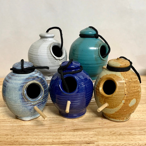 Handmade Stoneware Small Bird Feeder