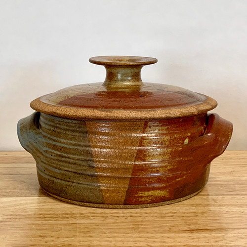 Handmade Pottery 2 Qt Covered Casserole w Handles in Oasis Glaze