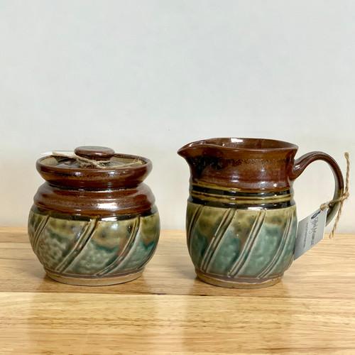 Handmade Stoneware Creamer and Sugar in Plum and Green