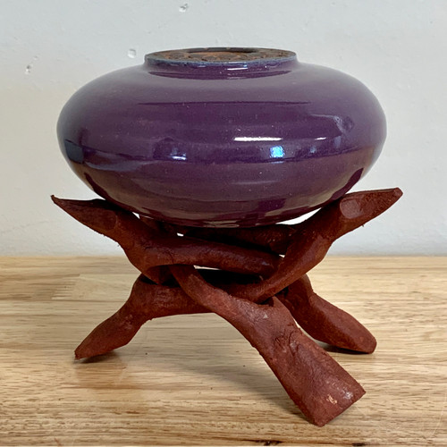"""Handmade Pottery Plum Colored """"Soul Pot"""" with Stand"""