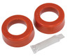 """Smooth/Round Type Grommets, 1-3/4"""" I.D., Early Swing Axle w/ EMPI H.D. Spring Plates, Pr, Red"""