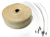 "2"" x 50' Exhaust Header Heat Wrap Tan w/ Stainless Straps, Hot Rat Street Rod Motorcycle"