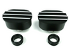 Hot Rod Black Oval w/ Silver Finns Valve Cover Breather Kit W/ Grommet SBC BBC