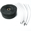 "2"" x 50' Exhaust Header Heat Wrap Black With Stainless Straps, Hot Rat Street Rod"