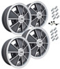 9675 Empi BRM Style Wheel Package, 5-Lug Bug, Bus, Beetle, 4Pc Set, Matte Black, 15 X 5, 5 On 205mm