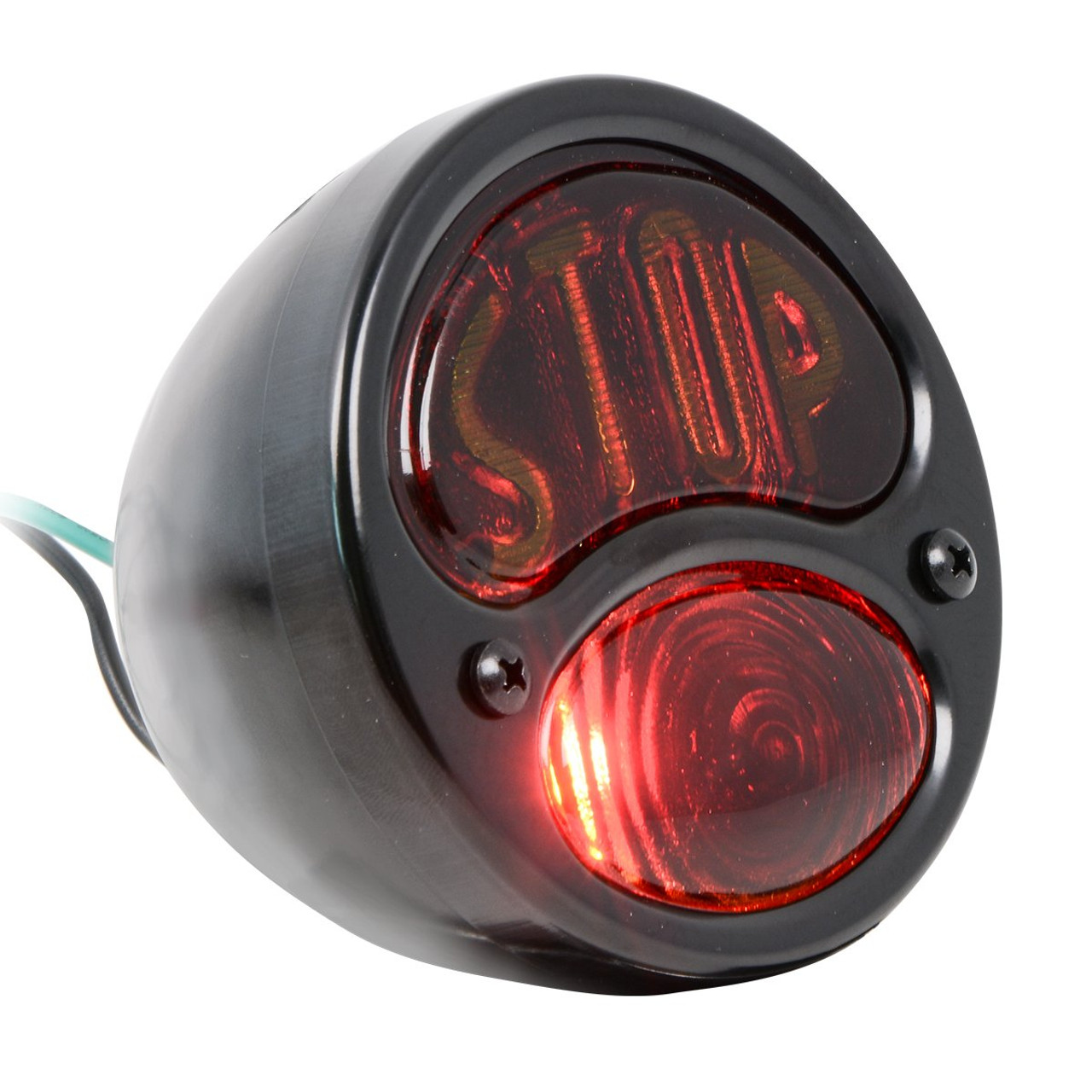 """KNS Accessories KA0022 Black 12V Duolamp Tail Light for Ford Model A with Amber """"STOP"""" Script on Red Glass Lens"""
