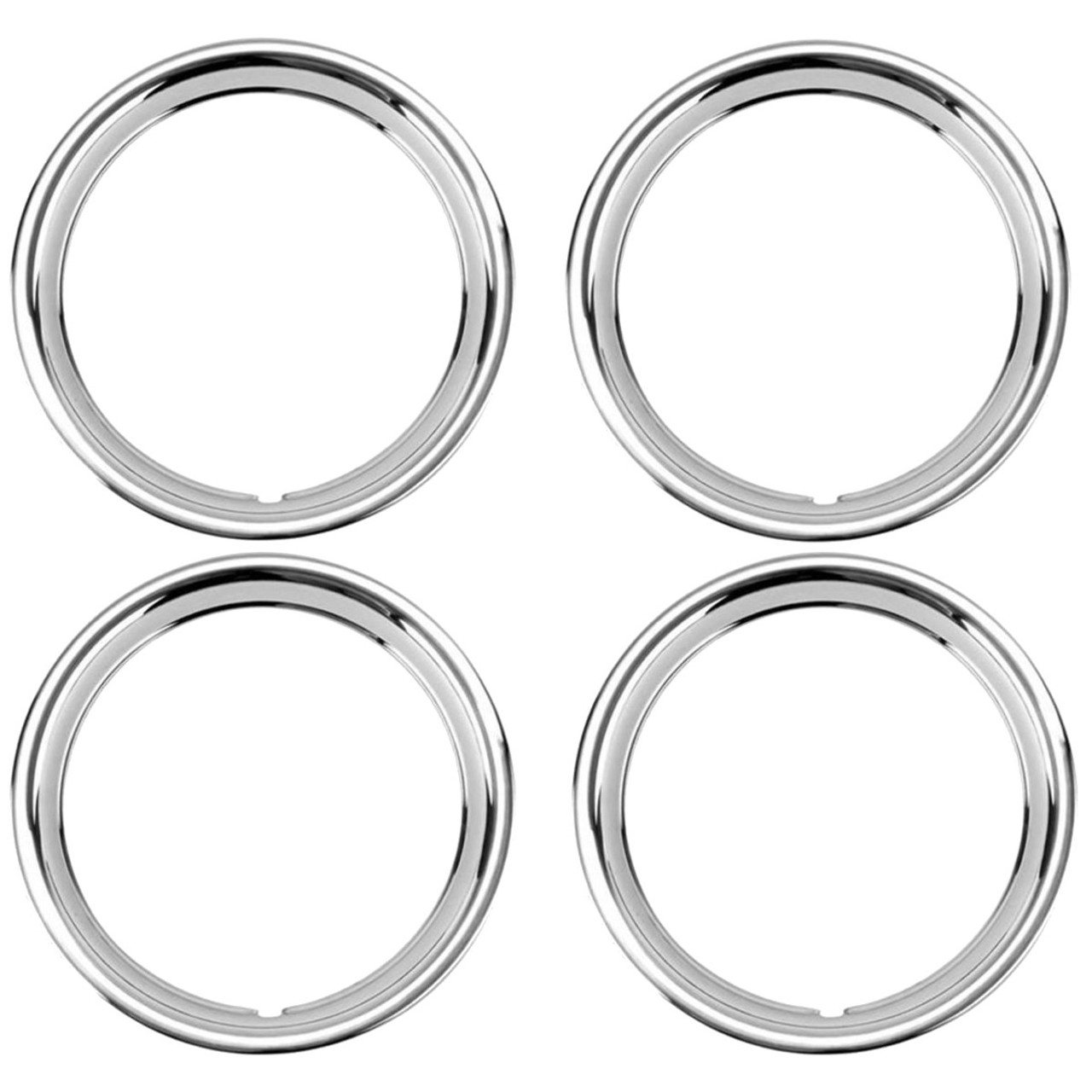 """15"""" Ford Smooth Stainless Steel Wheel Trim Beauty Ring, Set of 4"""