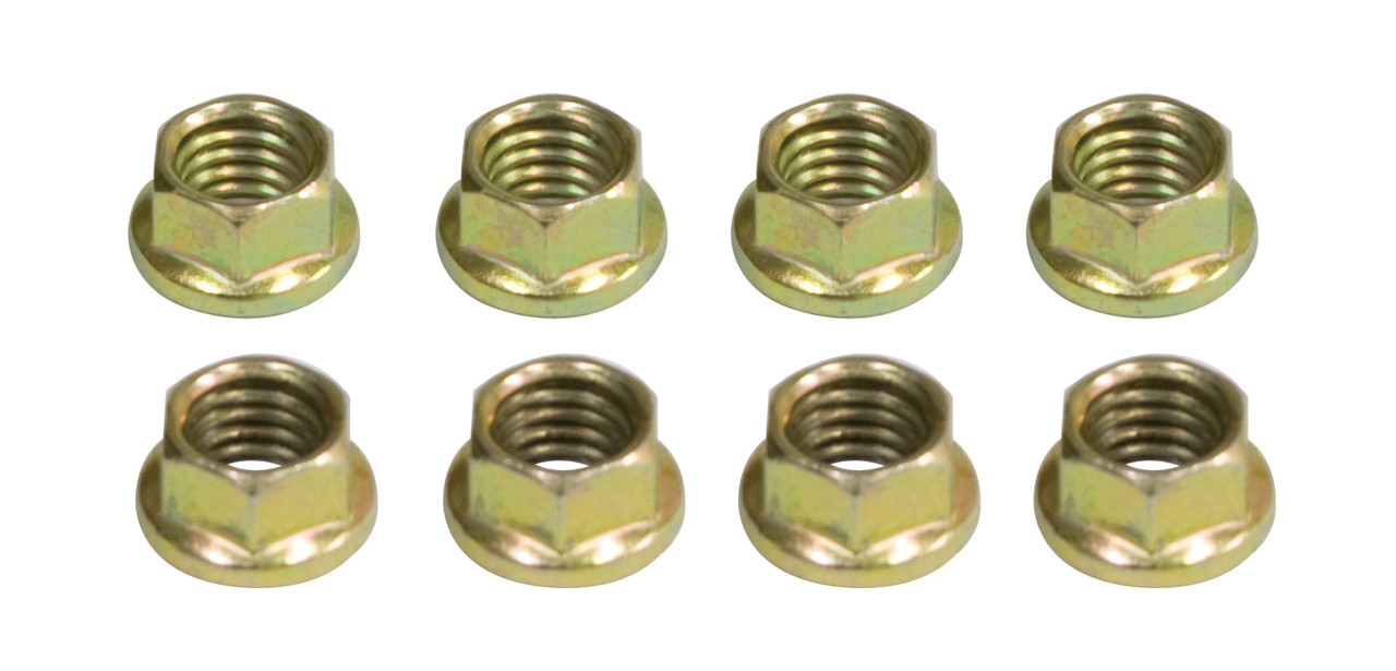 6 Point 8mm Engine Intake Nuts, Gold Zinc Plated, 8pcs, 8mm-1.25 Thread