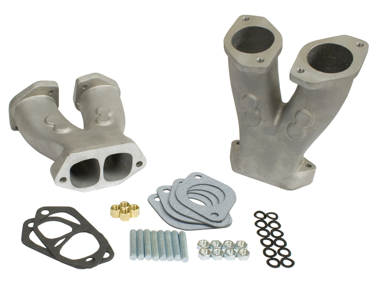 Stage 3 Match-Ported Tall Manifolds w/ NOS Boss  for HPMX/IDF/Dellorto/EMPI D Carbs, Pair