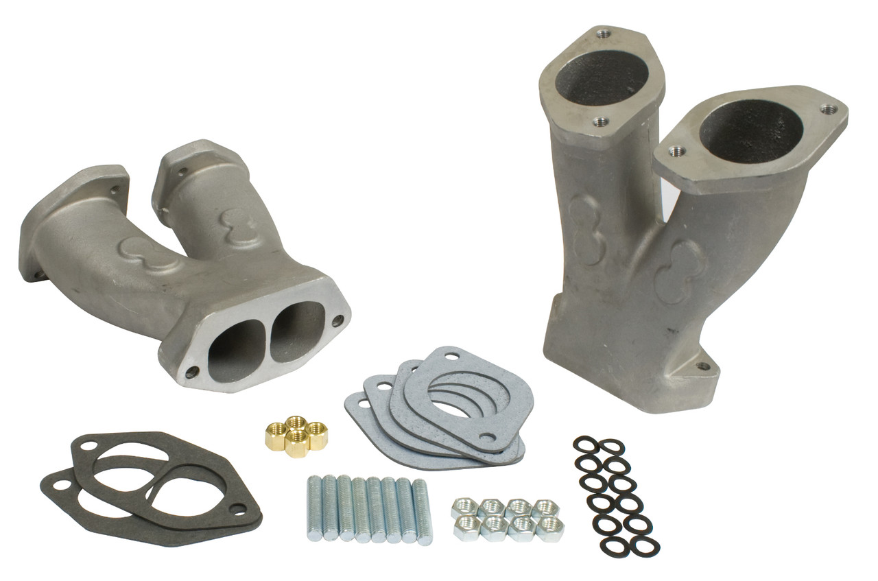 Stage 2 Match-Ported Tall Manifolds w/ NOS Boss  for HPMX/IDF/Dellorto/EMPI D Carbs, Pair