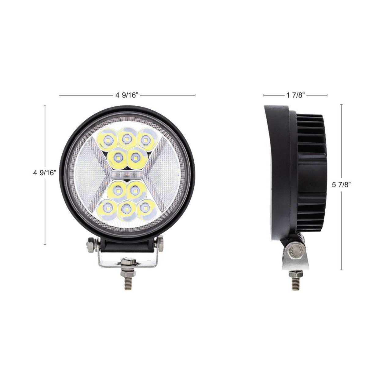 "4.5"" 24 High Power LED Work Light With ""X"" White Light Guide, 5200 Lumens, IP67"