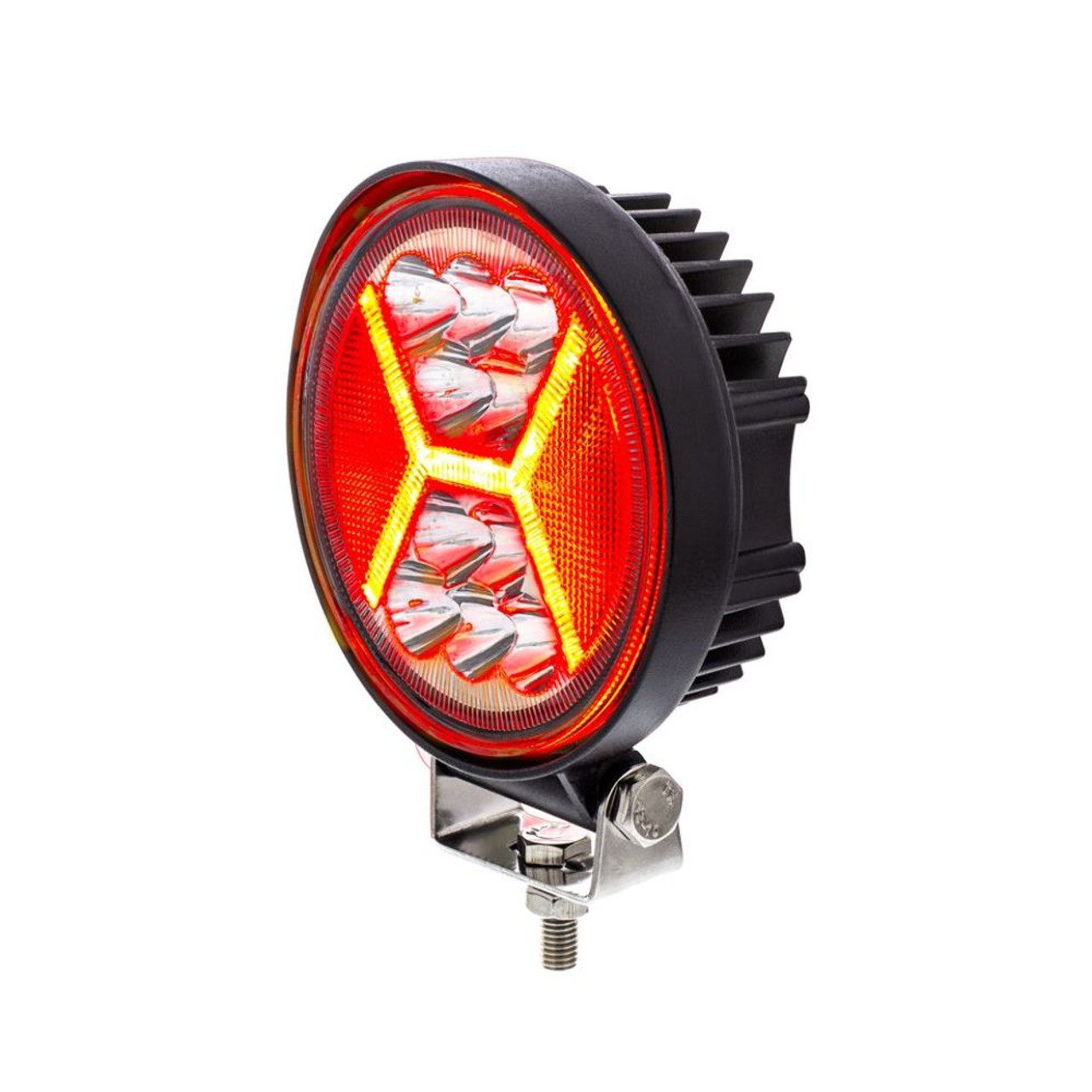 "4.5"" 24 High Power Led Work Light With ""X"" Red Light Guide, 5200 Lumens, IP67"