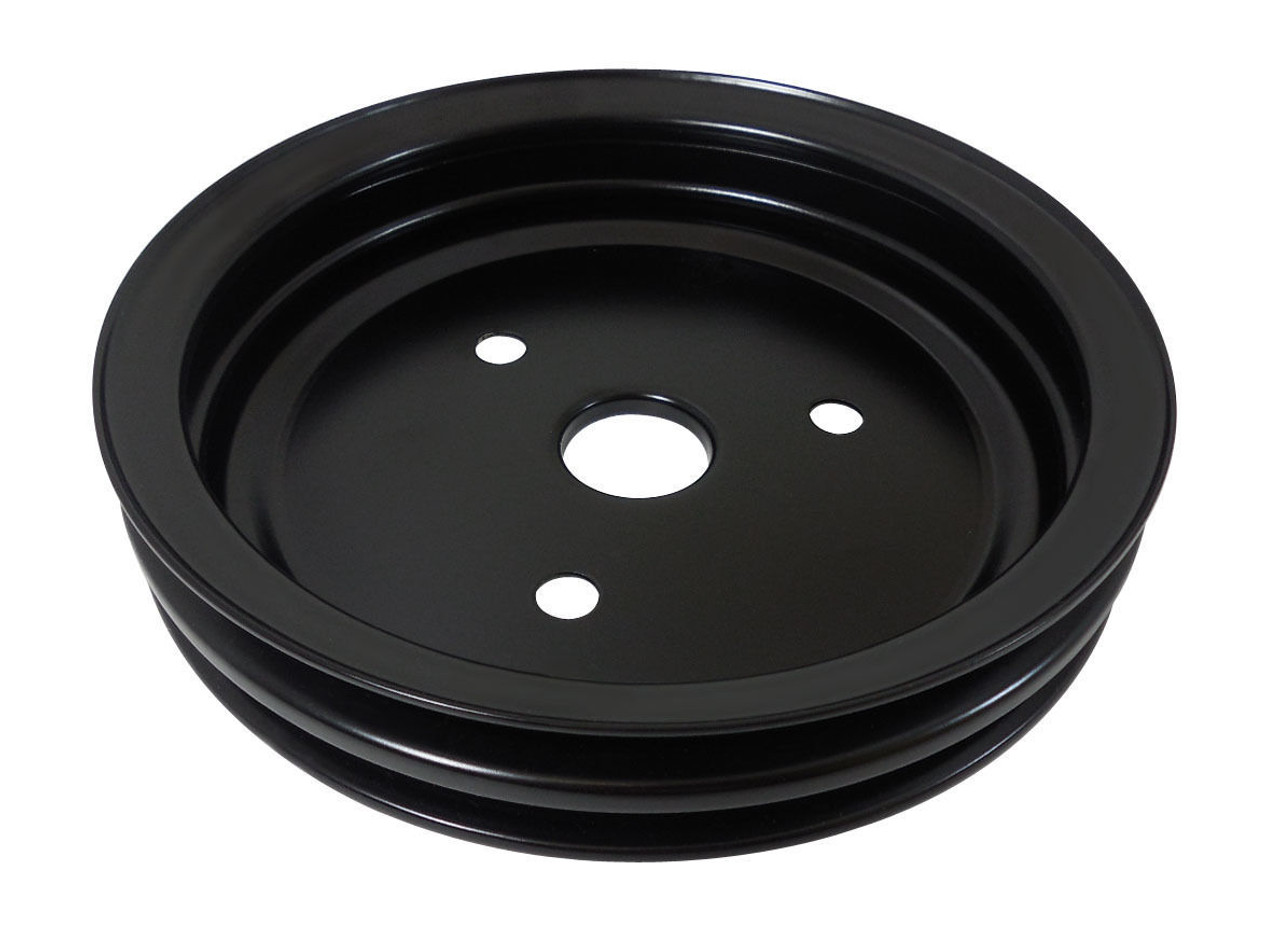 Double Groove Pulley Kit, Fits Chevy SBC Short Water Pump, Black Steel, 283 327 350 V8