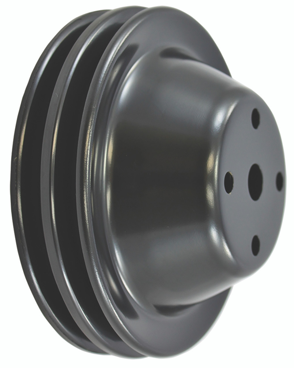 Double/Triple Groove Pulley Kit, Fits Chevy SBC Long Water Pump, Black Steel, 283-350 V8