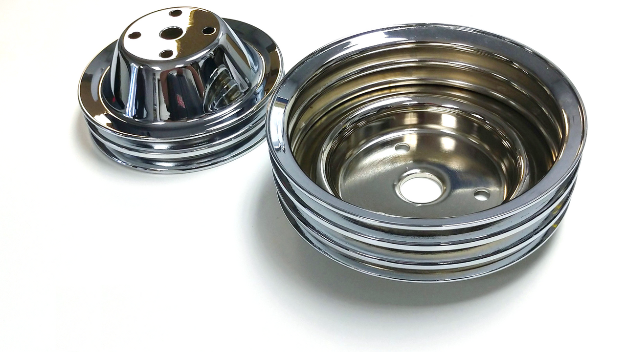 Double/Triple Groove Pulley Kit, Fits Chevy SBC Long Water Pump, Chrome Steel, 283-350 V8