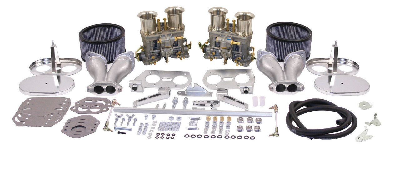 EMPI VW  DUAL 44 HPMX TYPE 1 CARB. KITS WITH CHrROME AIR CLEANERS 47-7319