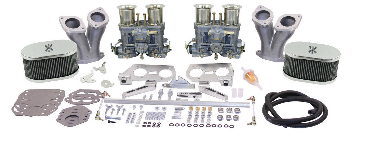 EMPI VW  DELUXE DUAL 44 HPMX TYPE 1 CARB. KITS WITH CHROME AIR CLEANERS 47-8319