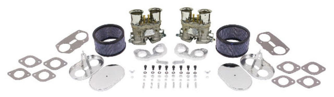 EMPI DUAL 40 HPMX PORSCHE 356/912 CARB. KITS WITH CHROME AIR CLEANERS 48-1292