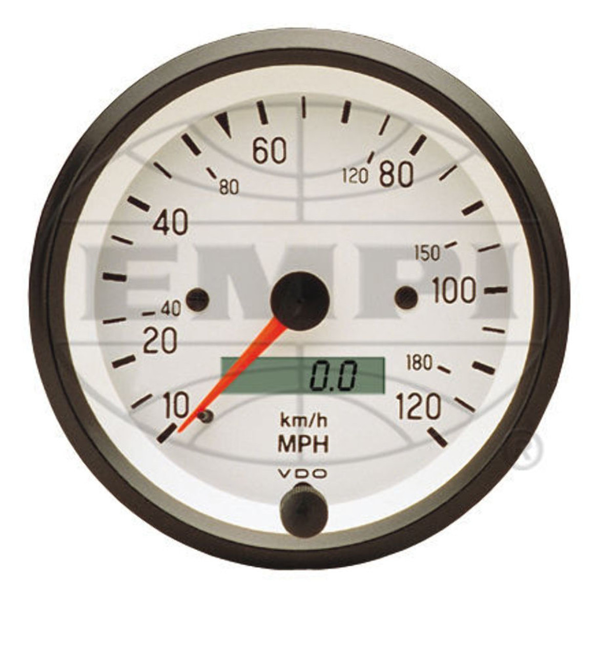 Cockpit Speedometer, White, 120 Mph, 3-3/8, Fits VW Bug Air Cooled, VDO 437202