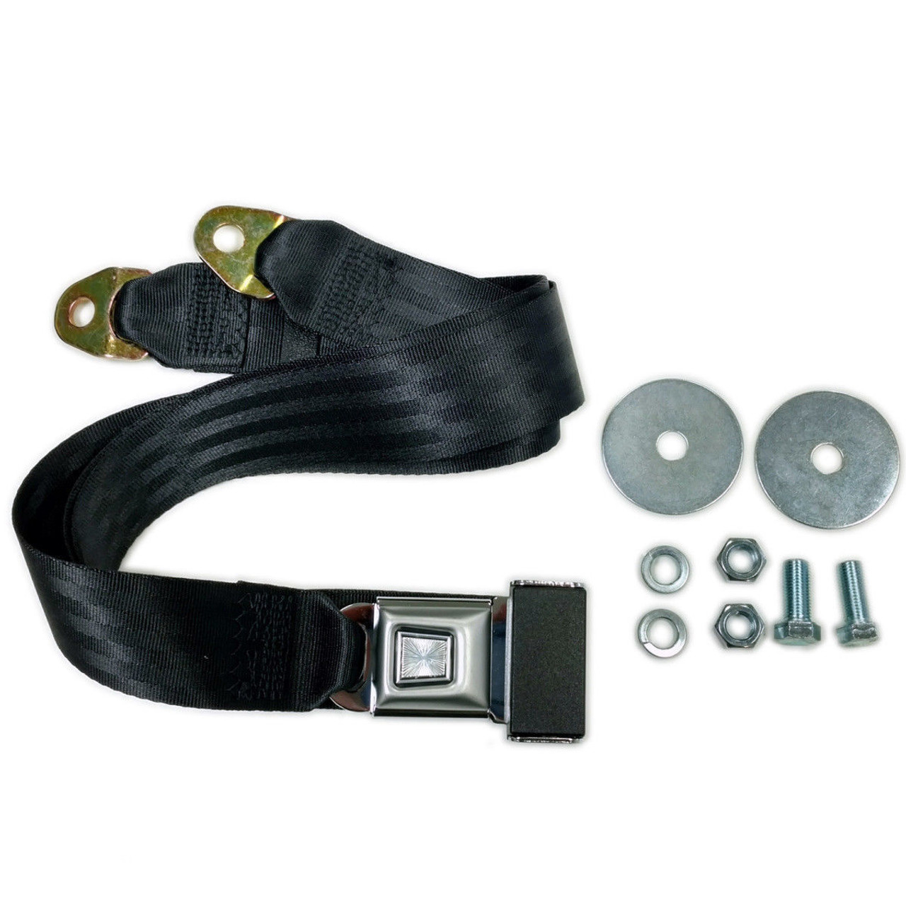 "72"" Universal 2-Point Lap Belt BLACK Seat Belt, Each  - Hot Rat Street Rod V8"