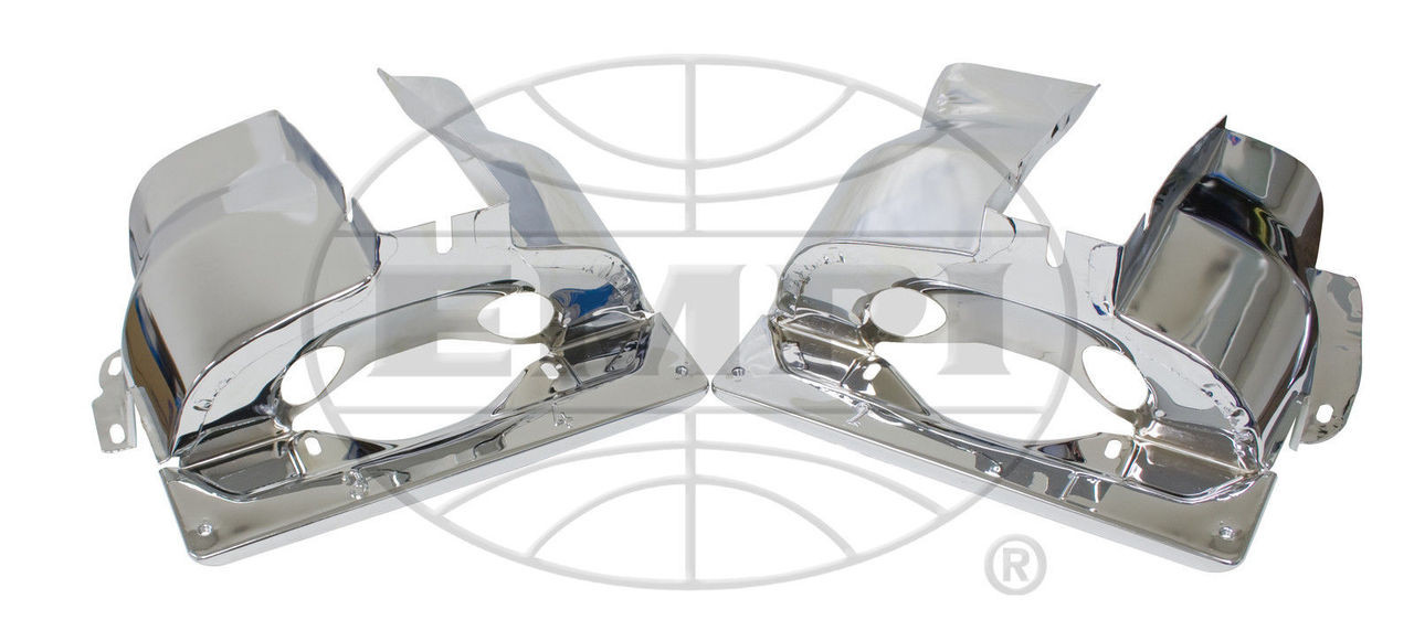 Dual Port Cylinder Tins, Chrome, Pair, Fits VW Air Cooled Engine, EMPI 9063-9