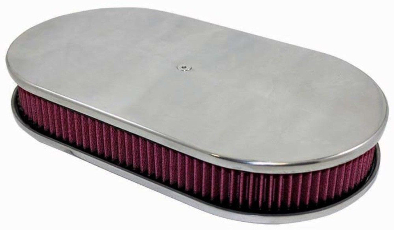 """15"""" Smooth Polished Aluminum Oval Air Cleaner w/ Washable Filter Chevy Ford V8"""