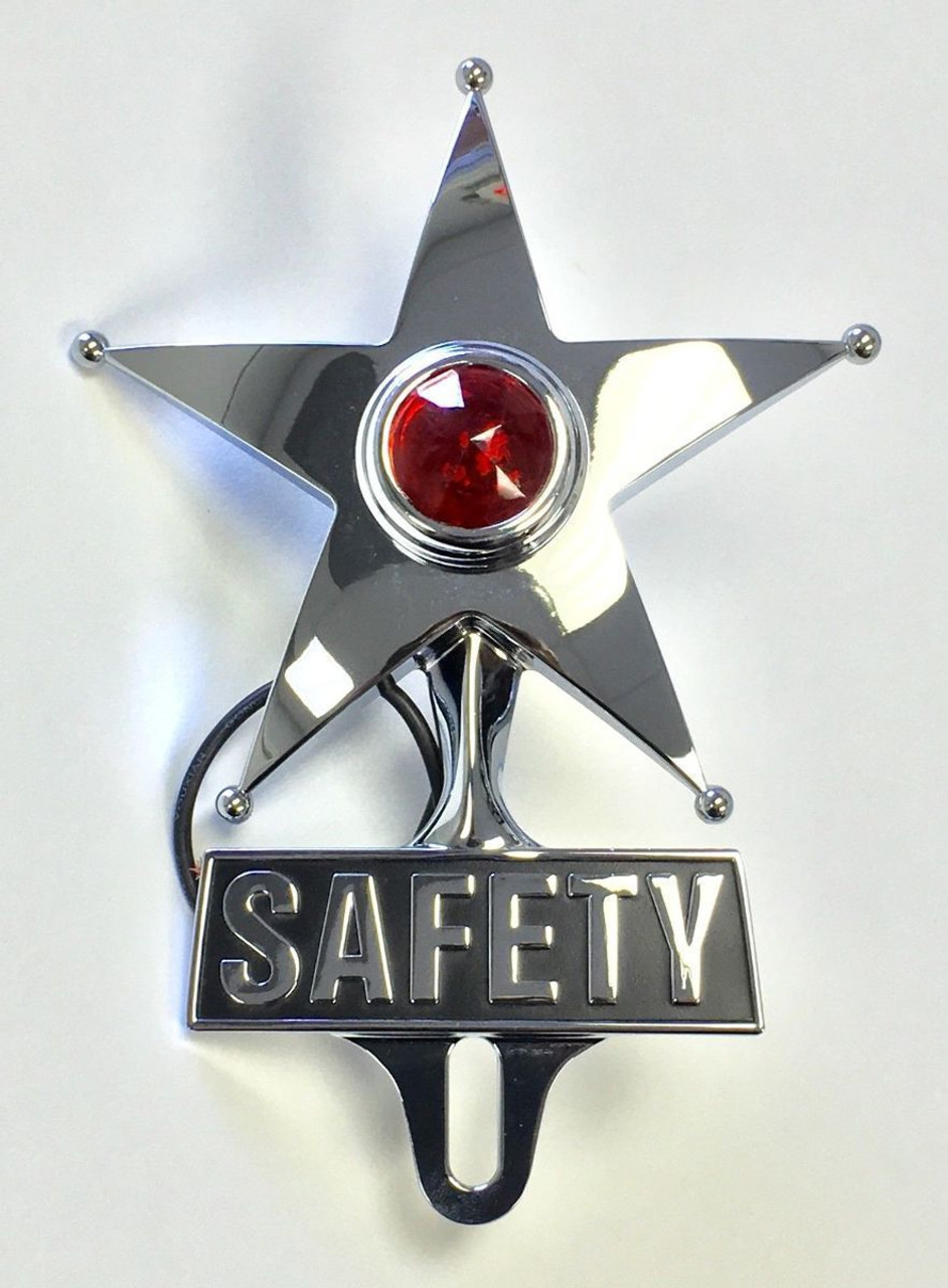Hot Rod Red Jewel Lighted Chrome Safety Star Vintage Style License Plate Topper