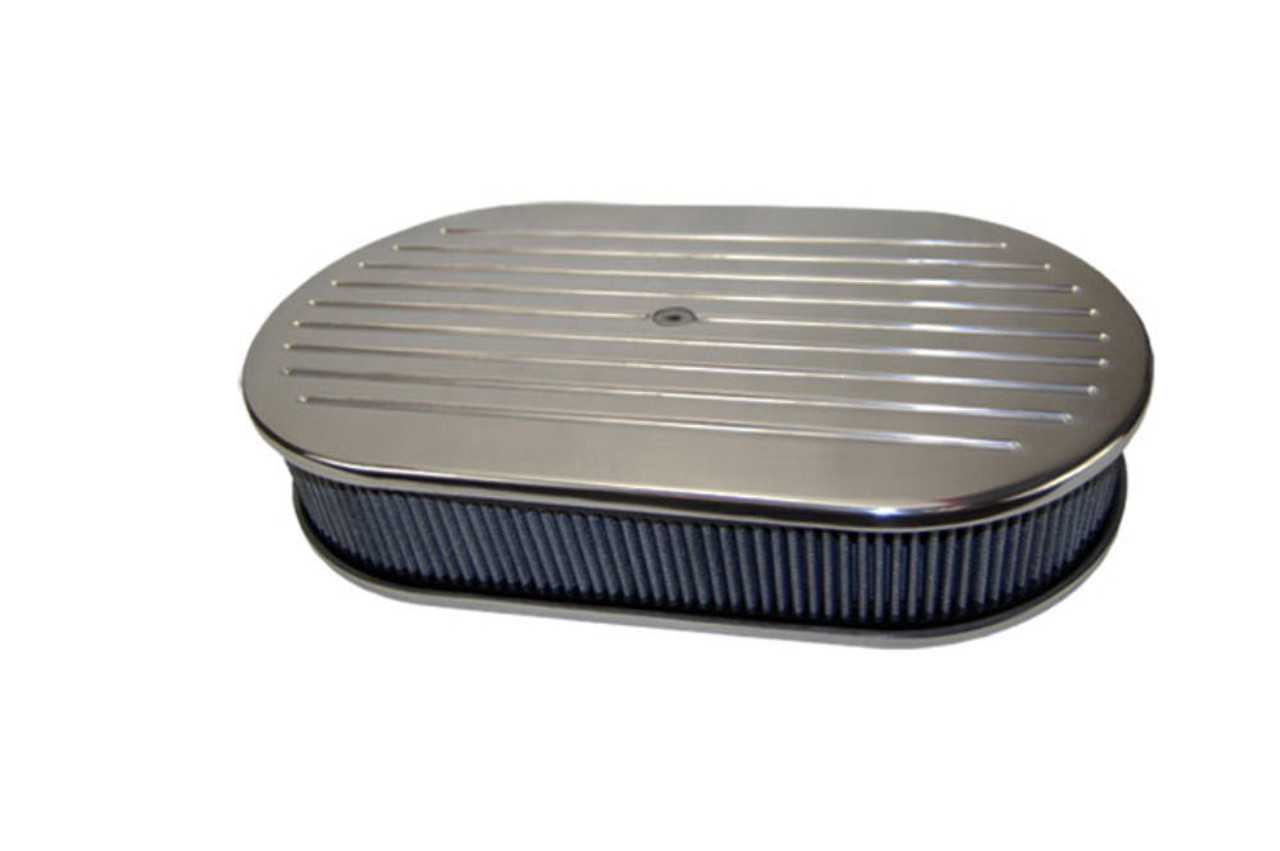 "15"" Ball Milled Polished Aluminum Oval Air Cleaner w/ Washable Filter Chevy Ford"