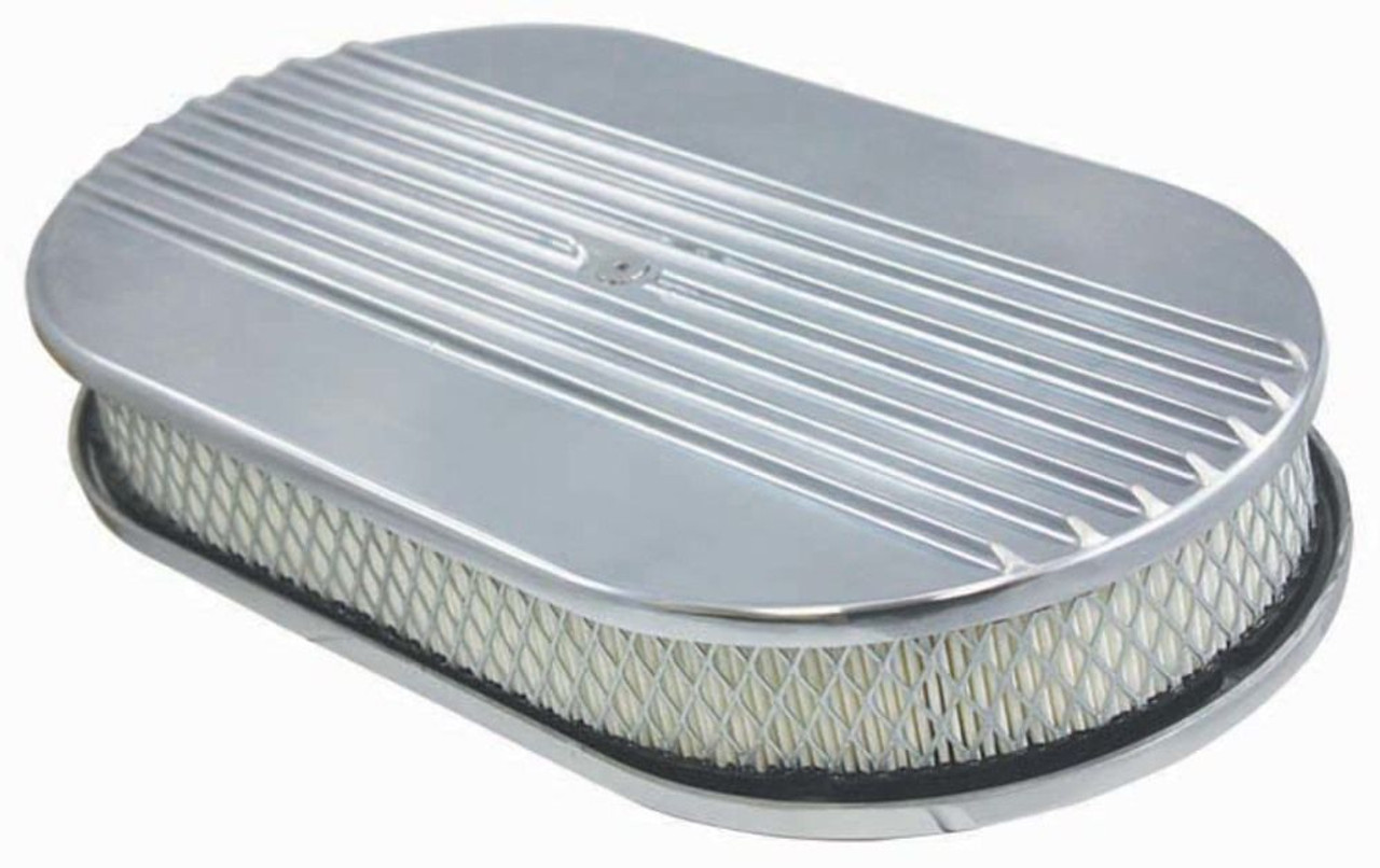 """15"""" Half Finned Aluminum Oval Air Cleaner w/ Filter Chevy Ford V8"""