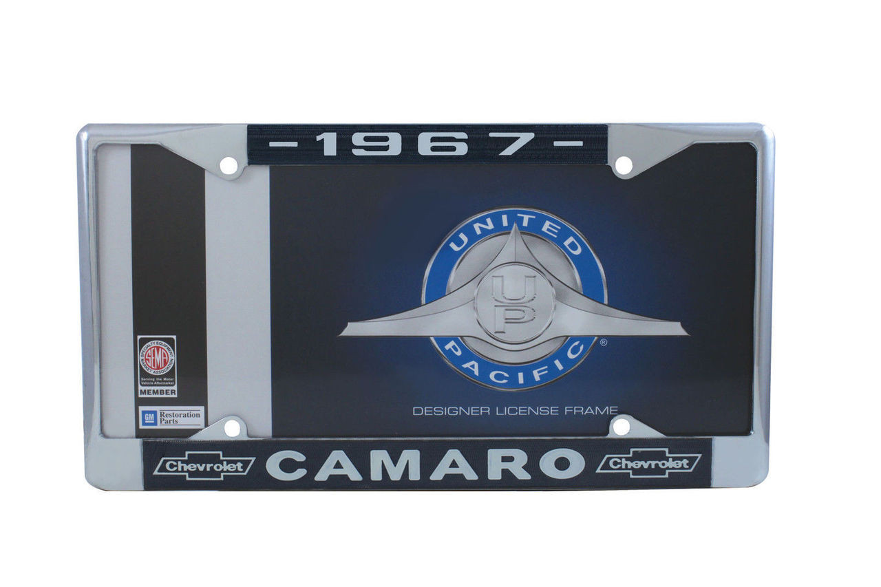 "1967 Chevy ""Camaro"" Chrome License Plate Frame with Year and Bowtie, Set of 2"