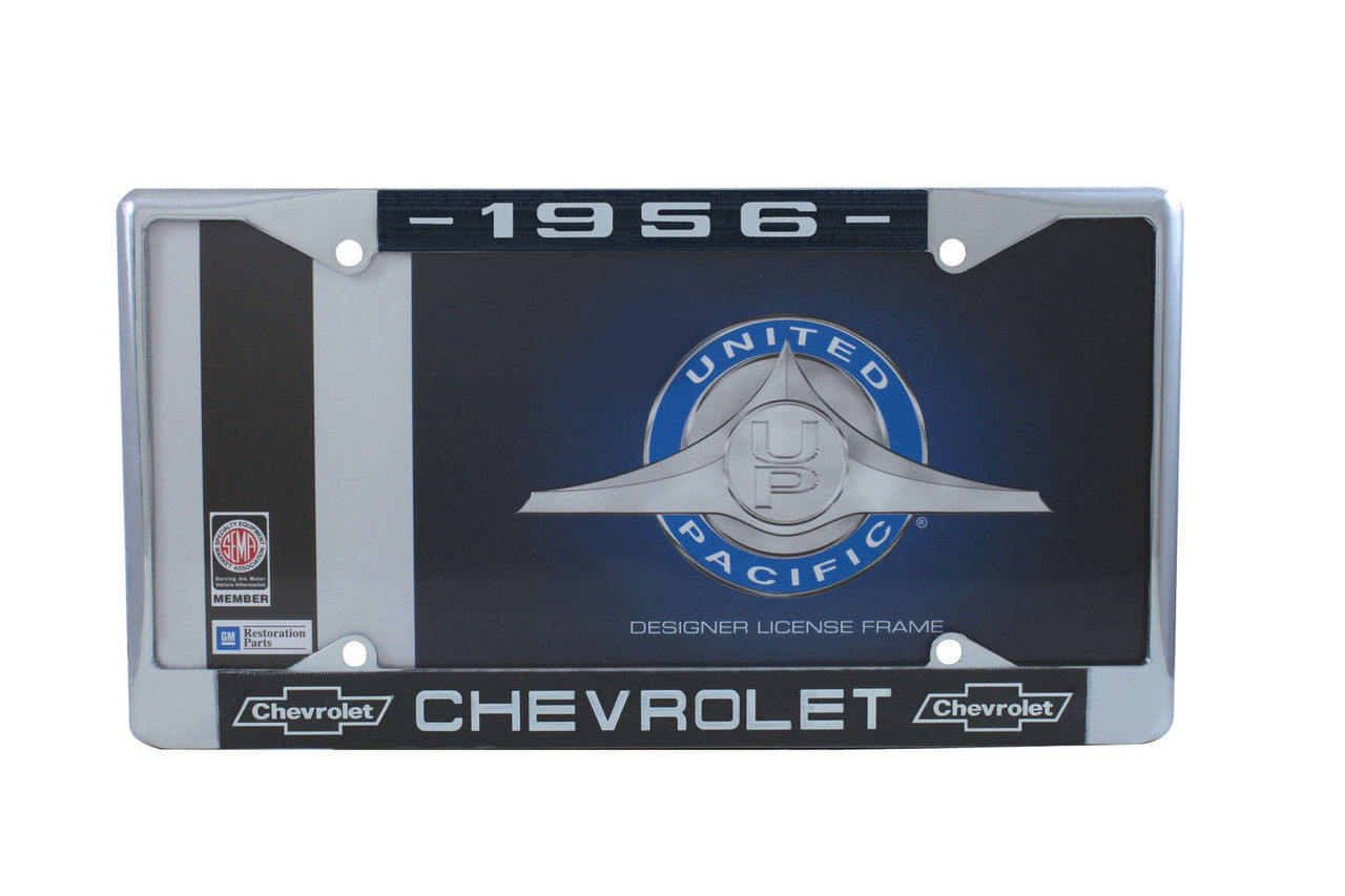 1956 Chevy Chrome License Plate Frame with Bowtie Blue / White Script, Set of 2