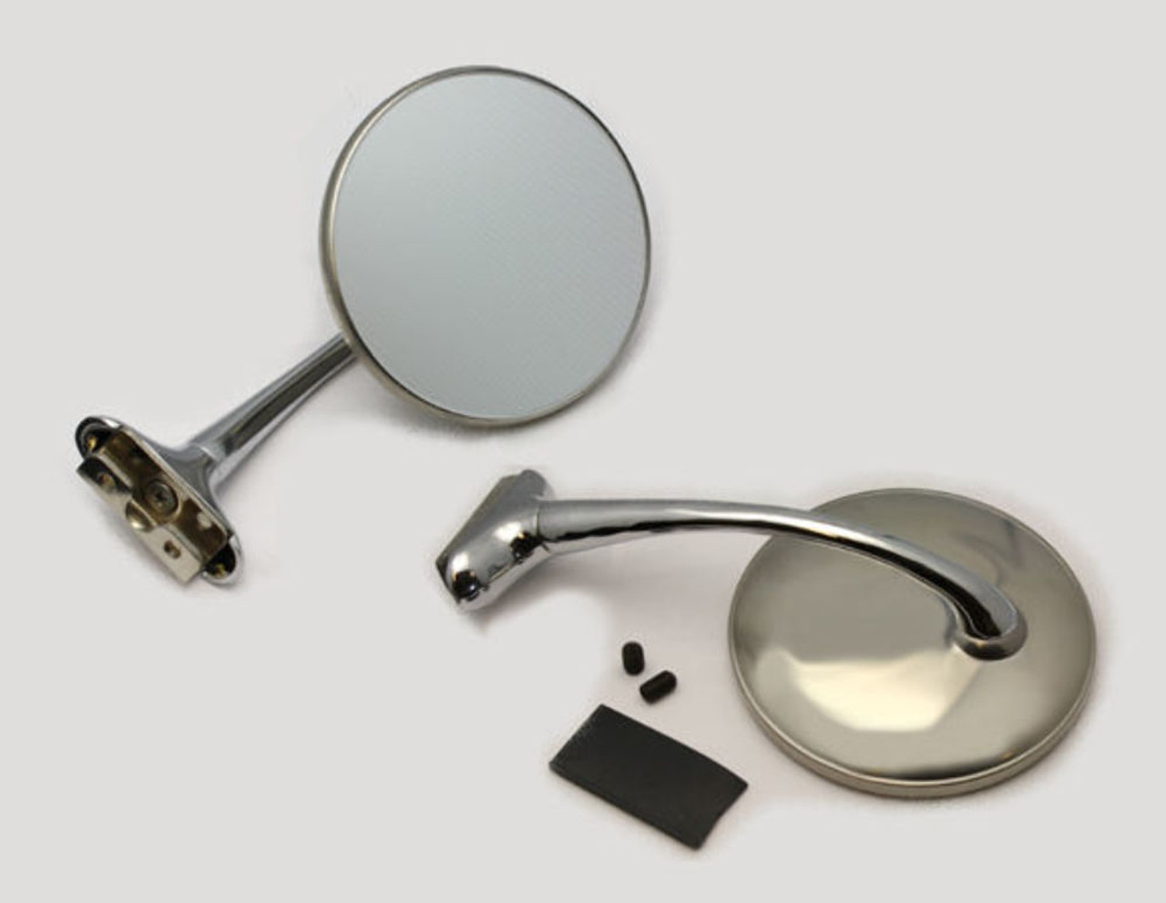 """RAT ROD 4"""" STAINLESS STRAIGHT ARM PEEP MIRROR, EACH FITS GM FORD"""