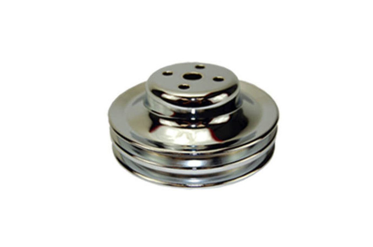1965-66 SB Ford 289 Chrome Steel Double Groove Water Pump Pulley