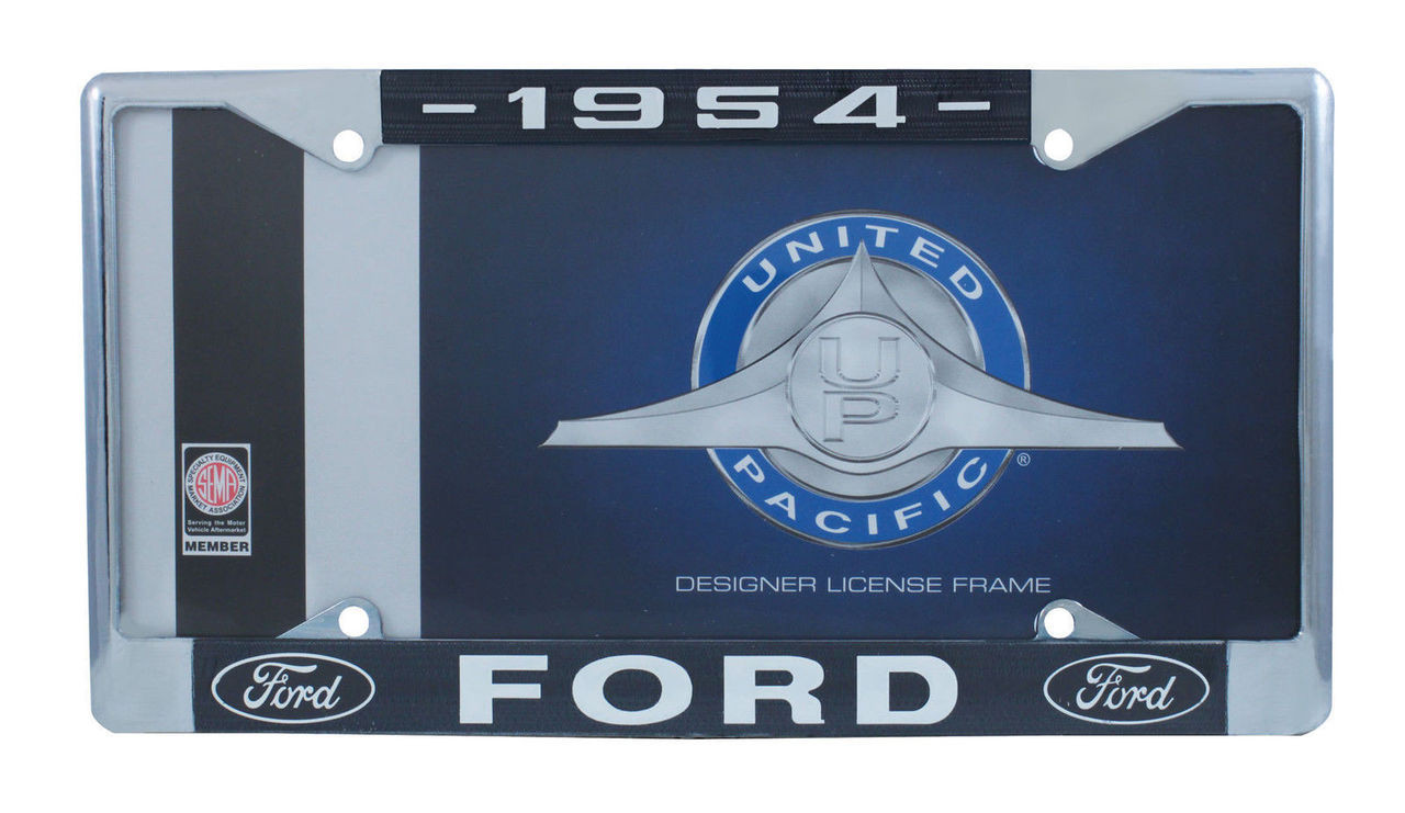 1954 Ford License Plate Frame Chrome Finish with Blue and White Script, Set of 2