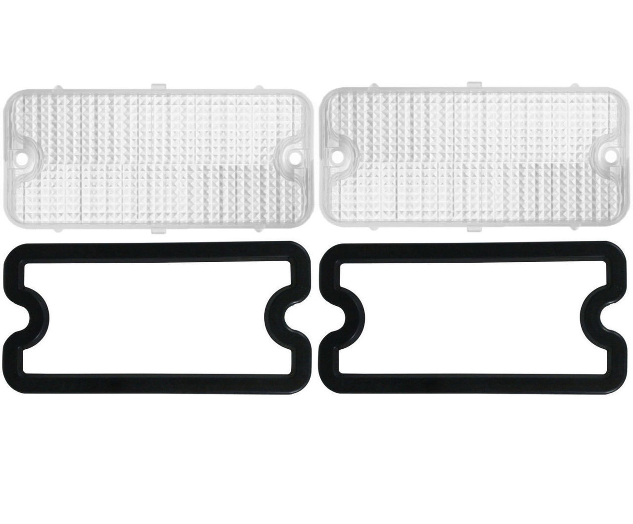(2) Parking Light Lenses w/ Gaskets, Clear, Pair, Fits Chevy 1967-1968 Truck