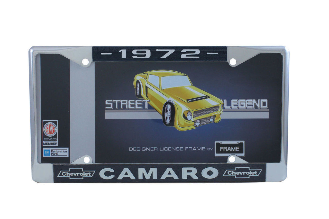 """1972 Chevy """"Camaro"""" Chrome License Plate Frame with Year and Bowtie, Set of 2"""