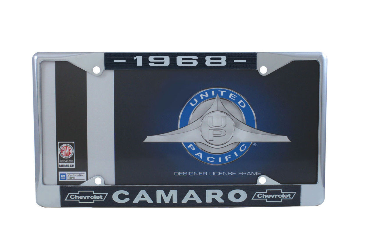 """DISCONTINUED 1968 Chevy """"Camaro"""" Chrome License Plate Frame with Year and Bowtie, Set of 2"""