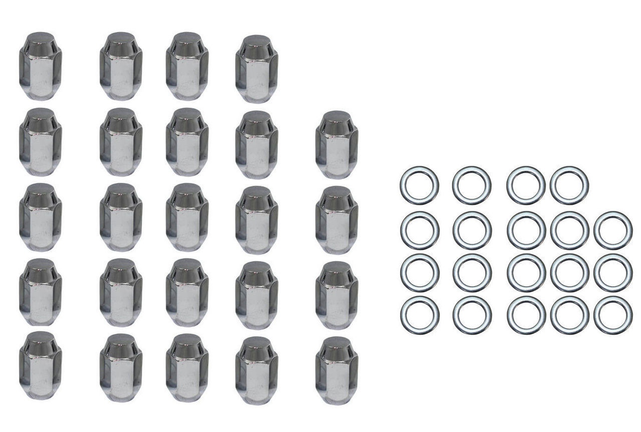 "24 Pc Set Chrome Steel Acorn Shank Lug Nuts 1/2"" x 20 Right Hand Thread Mopar Fo"