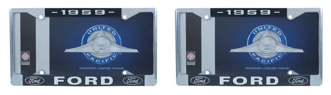 1959 Ford License Plate Frame Chrome Finish with Blue and White Script, Set of 2
