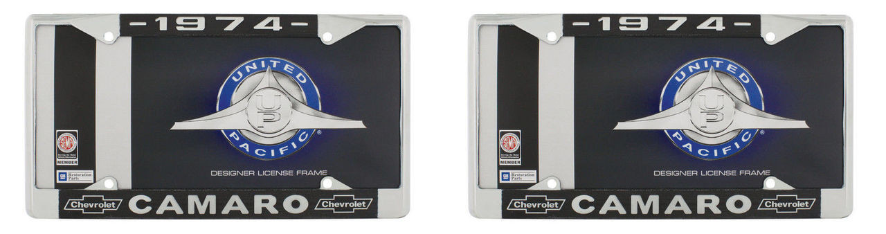 """1974 Chevy """"Camaro"""" Chrome License Plate Frame with Year and Bowtie, Set of 2"""