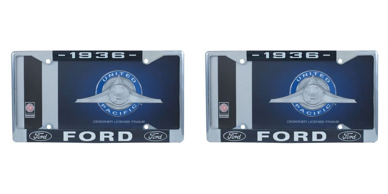 1936 Ford License Plate Frame Chrome Finish with Blue and White Script, Set of 2