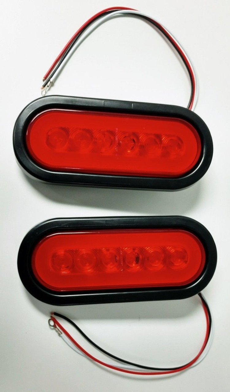 "(2) 22 Red Led 6"" Oval ""Glo"" S/T/T Light - Red Lens - Universal Trailer Truck RV"