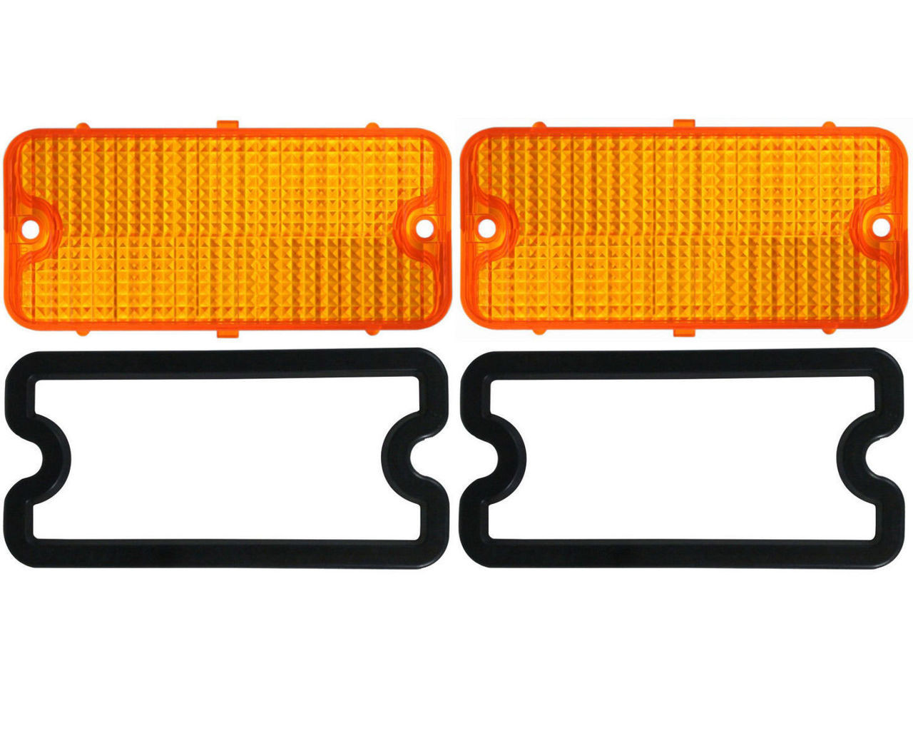 (2) Parking Light Lenses With Gaskets, Amber, Pair, Fits Chevy 1967-1968 Truck