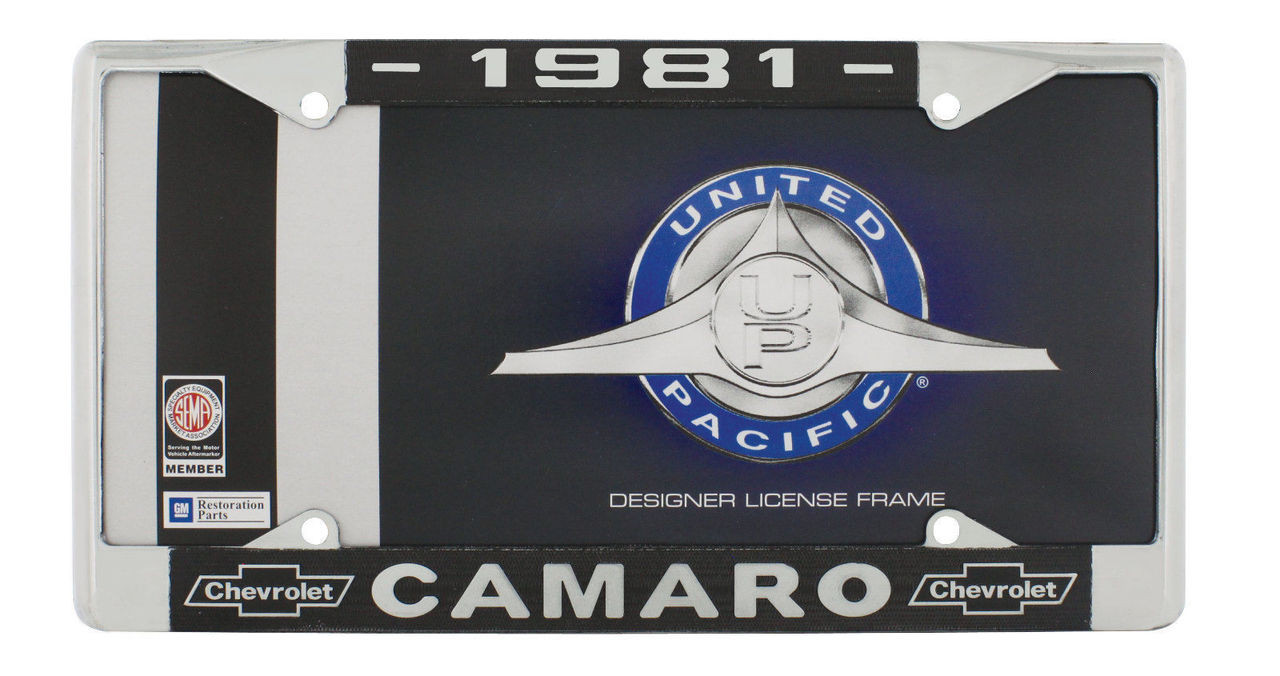 "1981 Chevy ""Camaro"" Chrome License Plate Frame with Year and Bowtie, Set of 2"