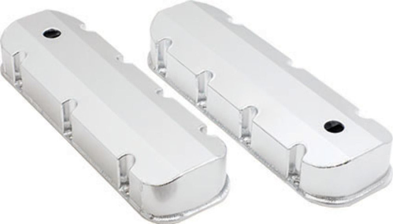 For 65-95 BBC Chevy 454 Ball Milled Aluminum Tall Polished Valve Covers w// Hole